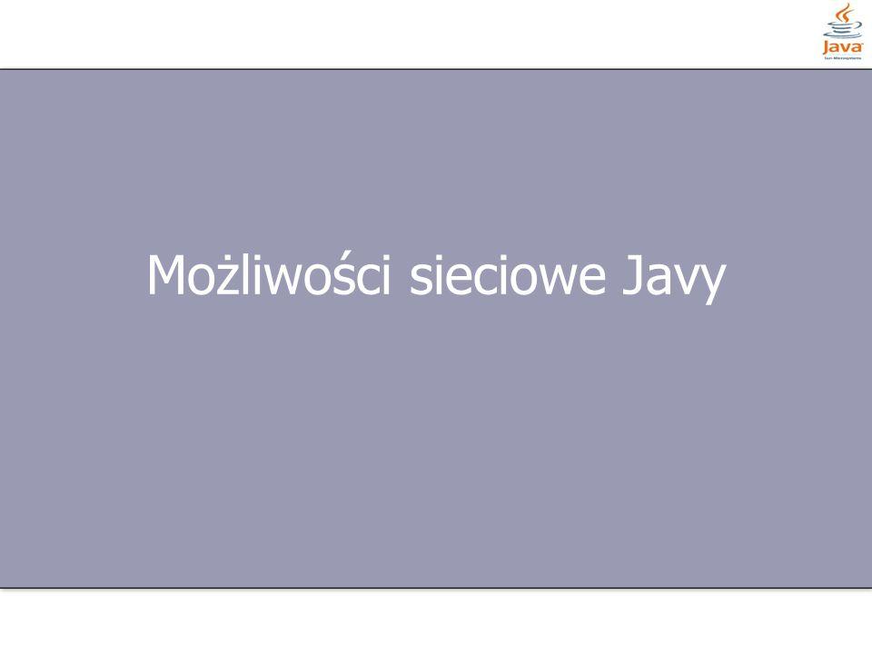 13 z 13 Pakiety sieciowe NazwaOpis java.netPodstawowy pakiet z klasami sieciowymi java.appletMetody sieciowe appletów – np.