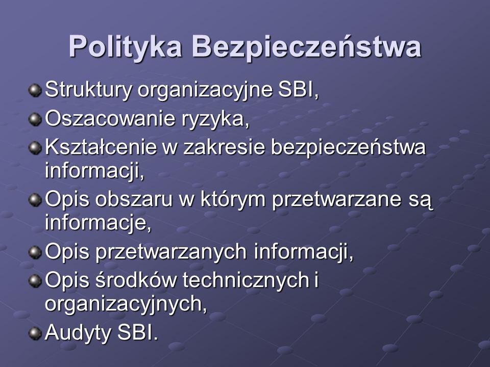 Polityka Bezpieczeństwa Struktury organizacyjne SBI, Oszacowanie ryzyka, Kształcenie w zakresie bezpieczeństwa informacji, Opis obszaru w którym przet