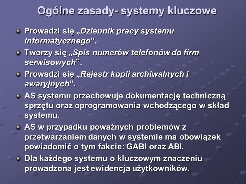 """Ogólne zasady- systemy kluczowe Prowadzi się """"Dziennik pracy systemu informatycznego"""". Tworzy się """"Spis numerów telefonów do firm serwisowych"""". Prowad"""