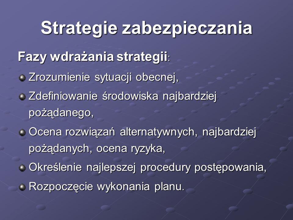 Strategie zabezpieczania Fazy wdrażania strategii : Zrozumienie sytuacji obecnej, Zdefiniowanie środowiska najbardziej pożądanego, Ocena rozwiązań alt
