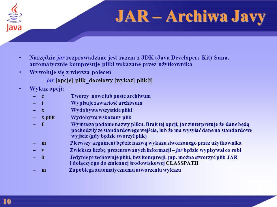 JAR – Archiwa Javy Narzędzie jar rozprowadzane jest razem z JDK (Java Developers Kit) Suna, automatycznie kompresuje pliki wskazane przez użytkownikaNarzędzie jar rozprowadzane jest razem z JDK (Java Developers Kit) Suna, automatycznie kompresuje pliki wskazane przez użytkownika Wywołuje się z wiersza poleceńWywołuje się z wiersza poleceń jar [opcje] plik_docelowy [wykaz] plik[i] Wykaz opcji:Wykaz opcji: –c Tworzy nowe lub puste archiwum –t Wypisuje zawartość archiwum –x Wydobywa wszystkie pliki –x plik Wydobywa wskazany plik –f Wymusza podanie nazwy pliku.