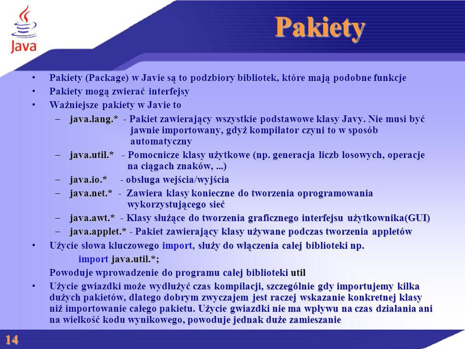 Pakiety Pakiety (Package) w Javie są to podzbiory bibliotek, które mają podobne funkcjePakiety (Package) w Javie są to podzbiory bibliotek, które mają podobne funkcje Pakiety mogą zwierać interfejsyPakiety mogą zwierać interfejsy Ważniejsze pakiety w Javie toWażniejsze pakiety w Javie to –java.lang.* - Pakiet zawierający wszystkie podstawowe klasy Javy.