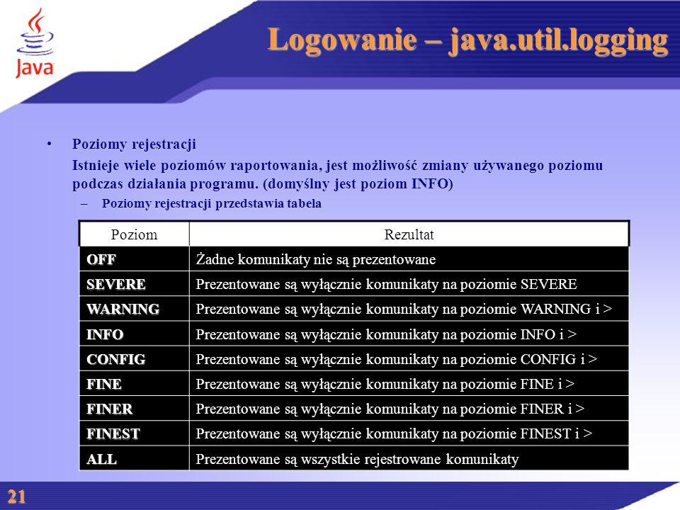 Logowanie – java.util.logging Poziomy rejestracjiPoziomy rejestracji Istnieje wiele poziomów raportowania, jest możliwość zmiany używanego poziomu podczas działania programu.