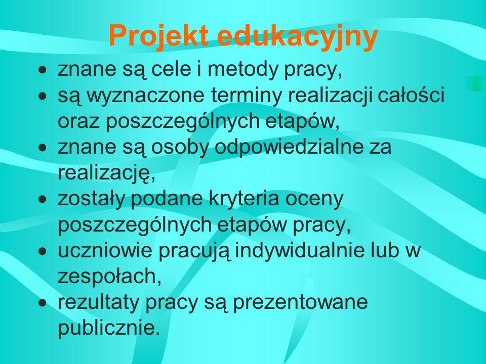 Projekt edukacyjny Dotyczy:  jednego przedmiotu,  ścieżki międzyprzedmiotowej,  kilku przedmiotów.