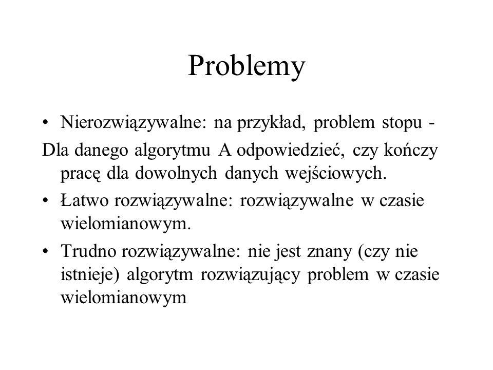 Problemy Nierozwiązywalne: na przykład, problem stopu - Dla danego algorytmu A odpowiedzieć, czy kończy pracę dla dowolnych danych wejściowych. Łatwo