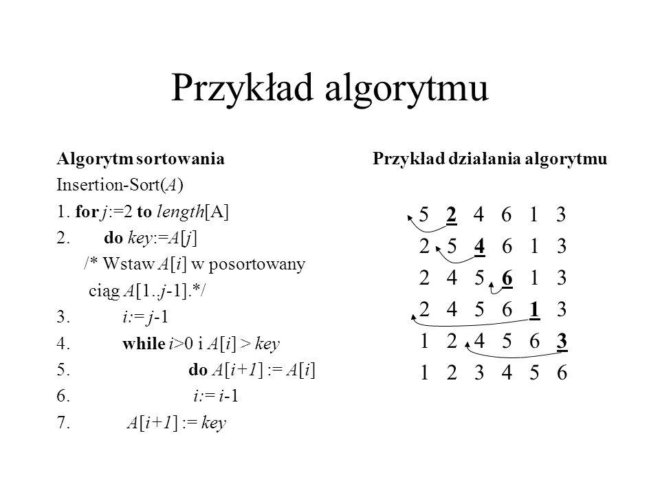 Przykład algorytmu Algorytm sortowania Insertion-Sort(A) 1. for j:=2 to length[A] 2. do key:=A[j] /* Wstaw A[i] w posortowany ciąg A[1..j-1].*/ 3.i:=