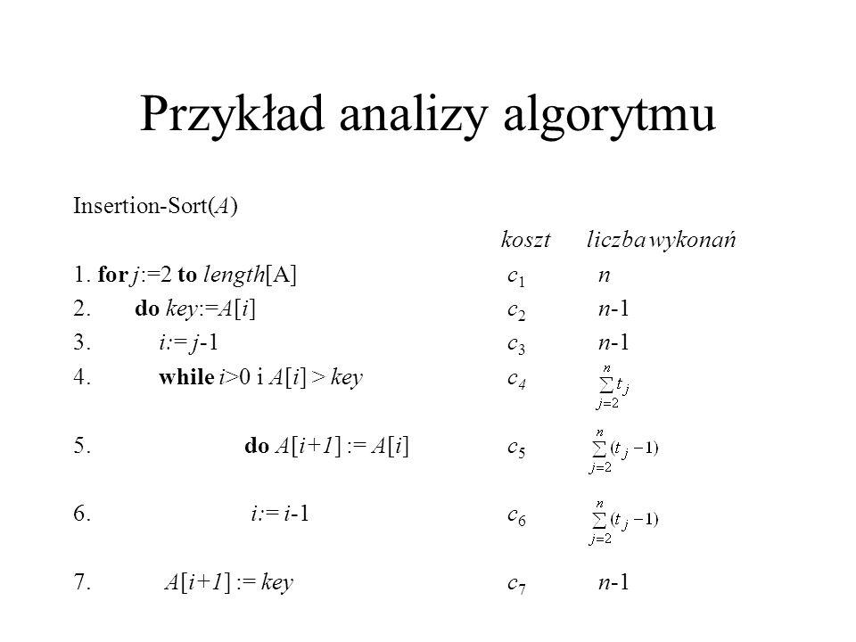 Przykład analizy algorytmu Insertion-Sort(A) kosztliczba wykonań 1. for j:=2 to length[A] c 1 n 2. do key:=A[i] c 2 n-1 3.i:= j-1 c 3 n-1 4.while i>0