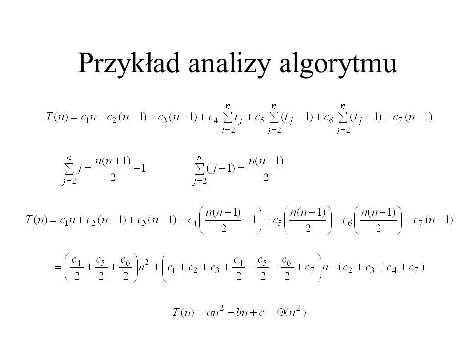 Czas działania algorytmów Notacja  :  (g(n)) = {f(n): istnieją stałe c 1, c 2 i n 0 takie, że 0  c 1 g(n)  f(n)  c 2 g(n) dla wszystkich n  n 0 }.