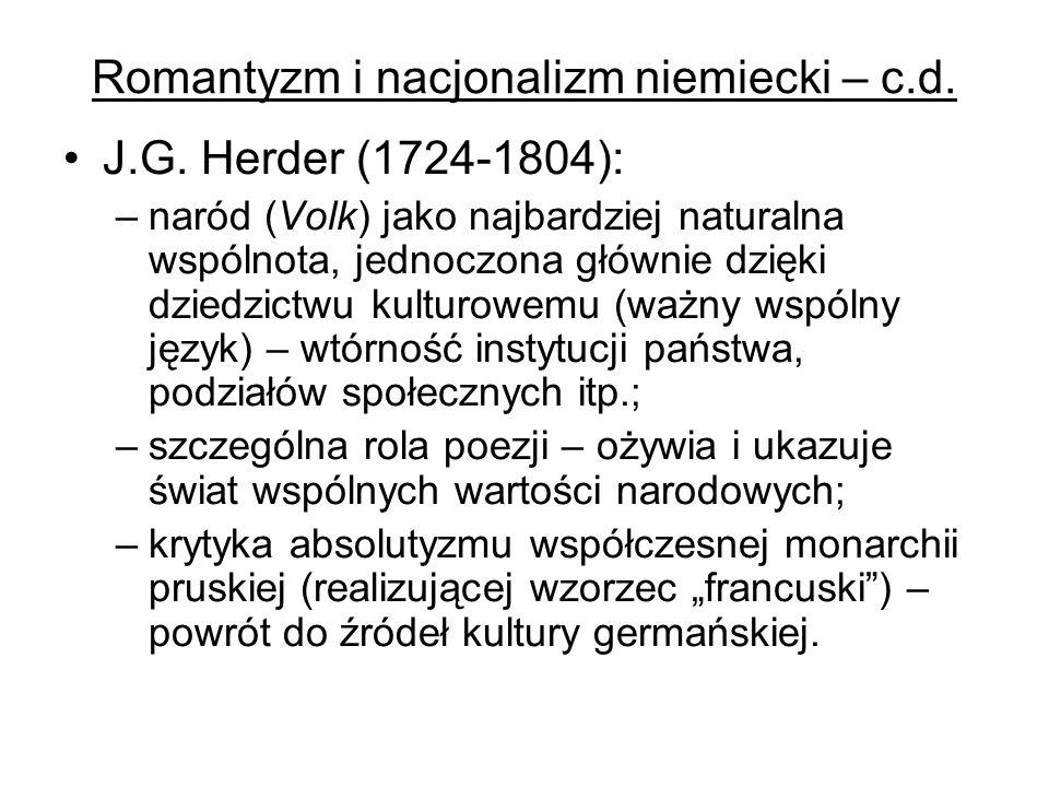 Romantyzm i nacjonalizm niemiecki – c.d.F.