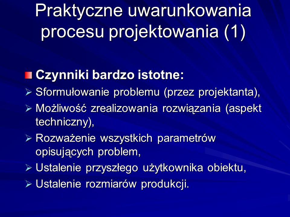 Praktyczne uwarunkowania procesu projektowania (1) Czynniki bardzo istotne:  Sformułowanie problemu (przez projektanta),  Możliwość zrealizowania ro