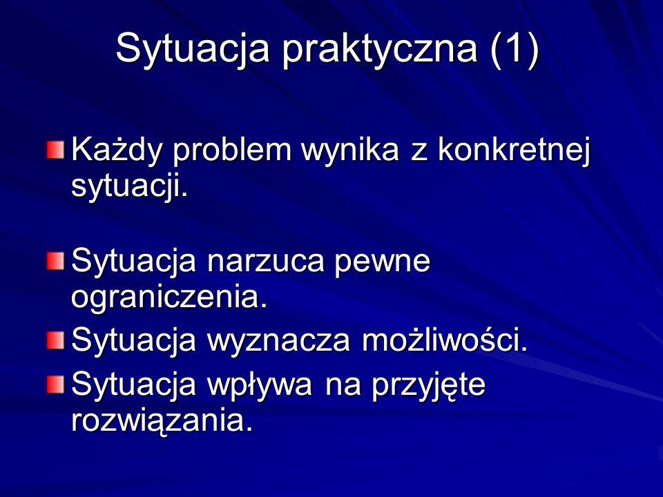 Sytuacja praktyczna (1) Każdy problem wynika z konkretnej sytuacji. Sytuacja narzuca pewne ograniczenia. Sytuacja wyznacza możliwości. Sytuacja wpływa
