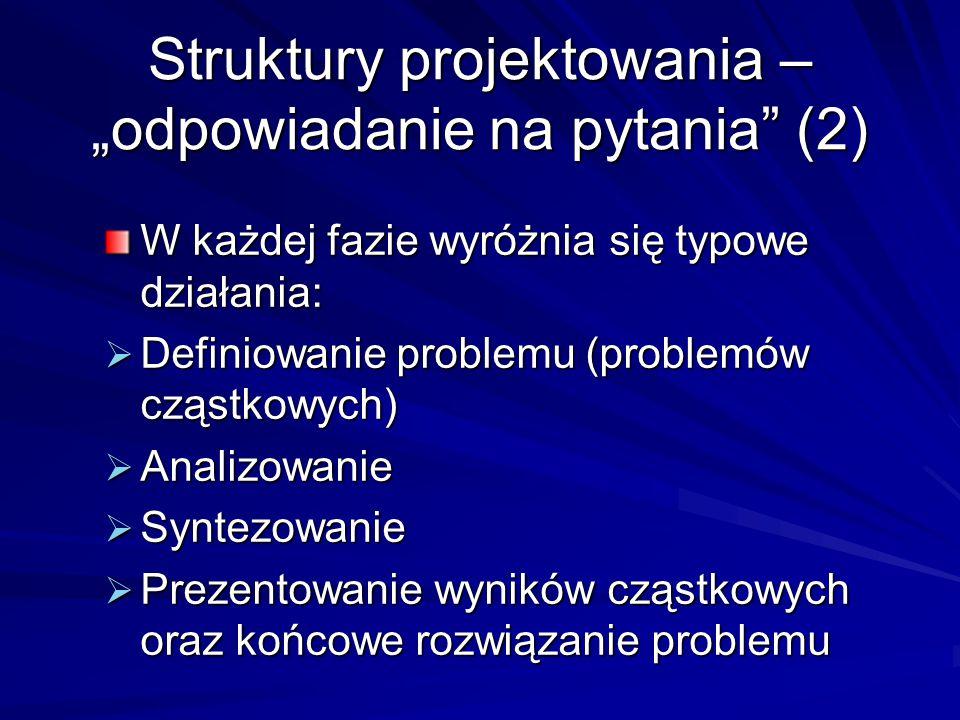 """Struktury projektowania – """"odpowiadanie na pytania"""" (2) W każdej fazie wyróżnia się typowe działania:  Definiowanie problemu (problemów cząstkowych)"""