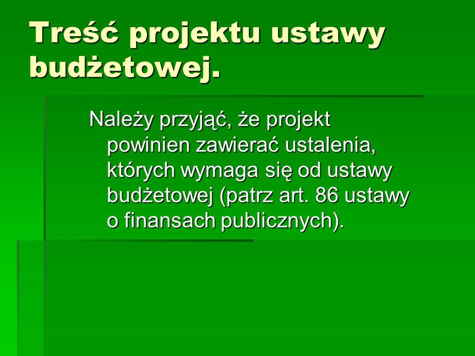 Treść projektu ustawy budżetowej. Należy przyjąć, że projekt powinien zawierać ustalenia, których wymaga się od ustawy budżetowej (patrz art. 86 ustaw