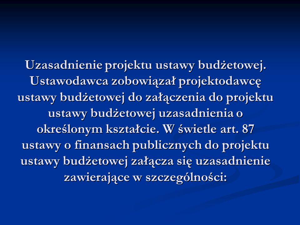 Uzasadnienie projektu ustawy budżetowej. Ustawodawca zobowiązał projektodawcę ustawy budżetowej do załączenia do projektu ustawy budżetowej uzasadnien