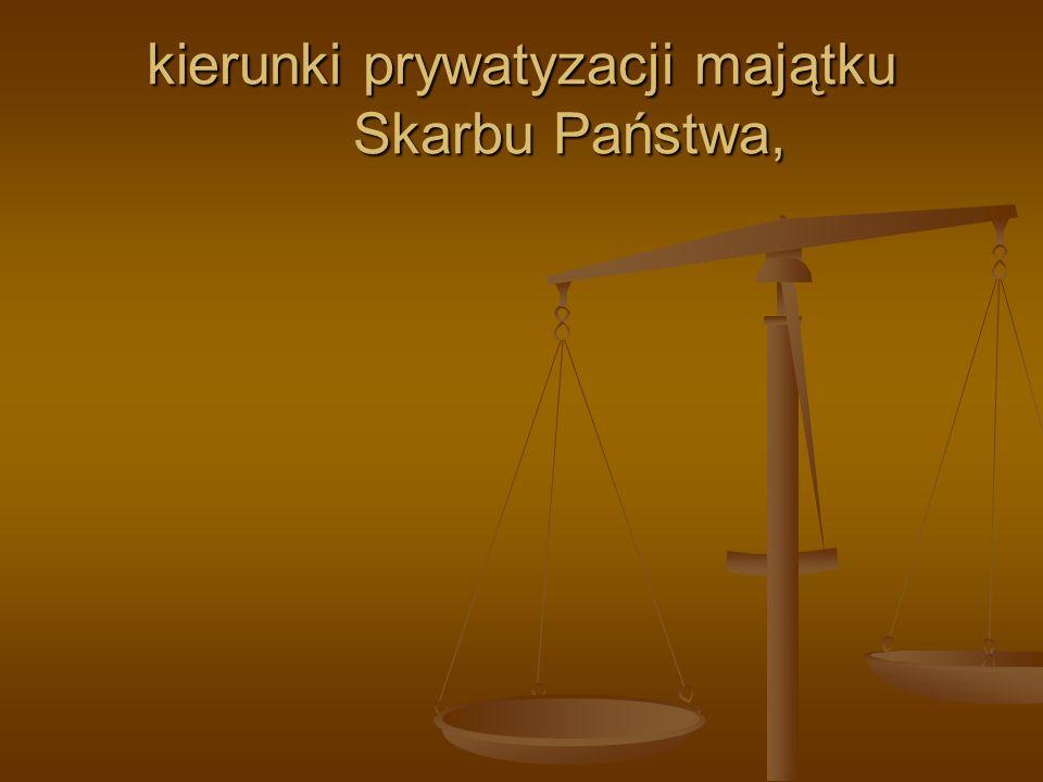 kierunki prywatyzacji majątku Skarbu Państwa,