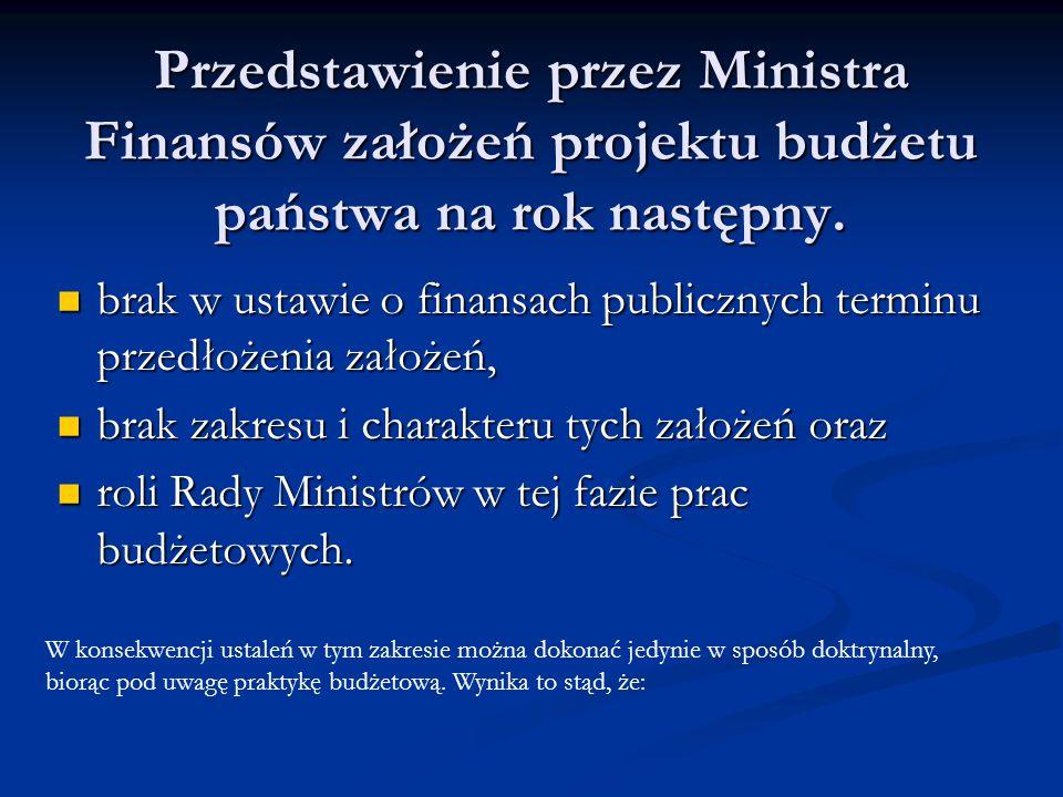Przedstawienie przez Ministra Finansów założeń projektu budżetu państwa na rok następny. brak w ustawie o finansach publicznych terminu przedłożenia z