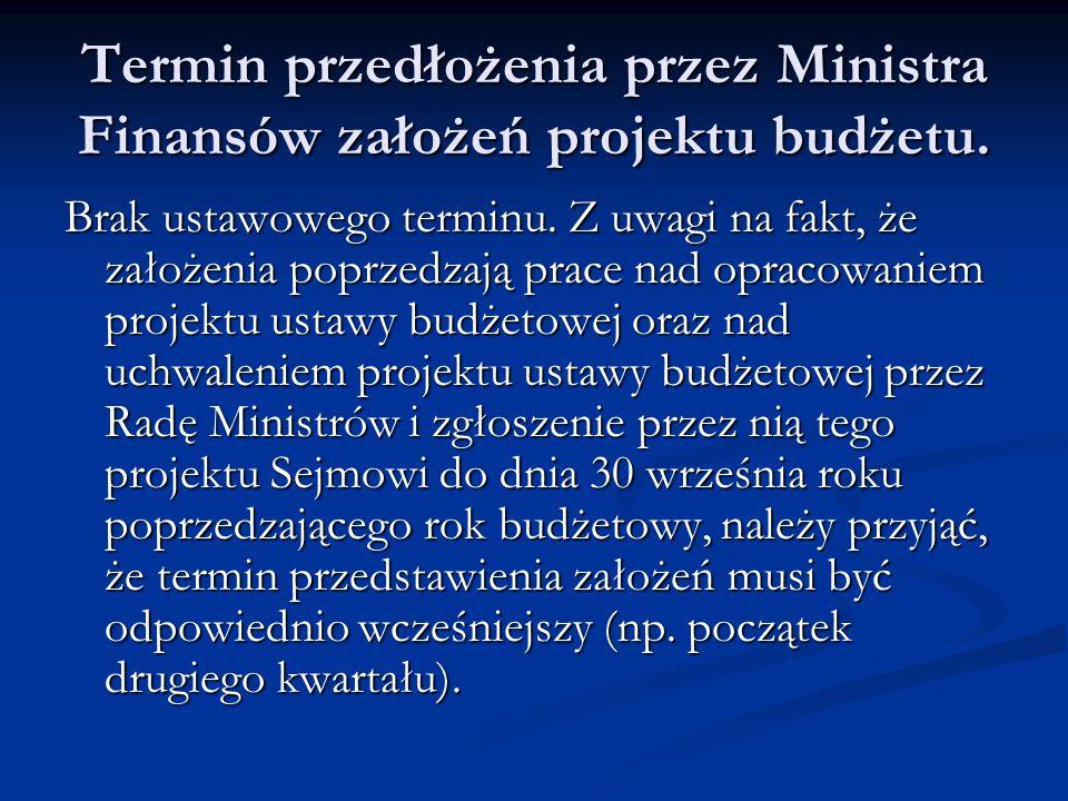 Termin przedłożenia przez Ministra Finansów założeń projektu budżetu. Brak ustawowego terminu. Z uwagi na fakt, że założenia poprzedzają prace nad op