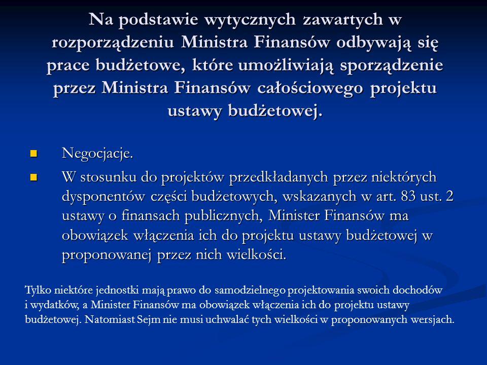 Na podstawie wytycznych zawartych w rozporządzeniu Ministra Finansów odbywają się prace budżetowe, które umożliwiają sporządzenie przez Ministra Finan