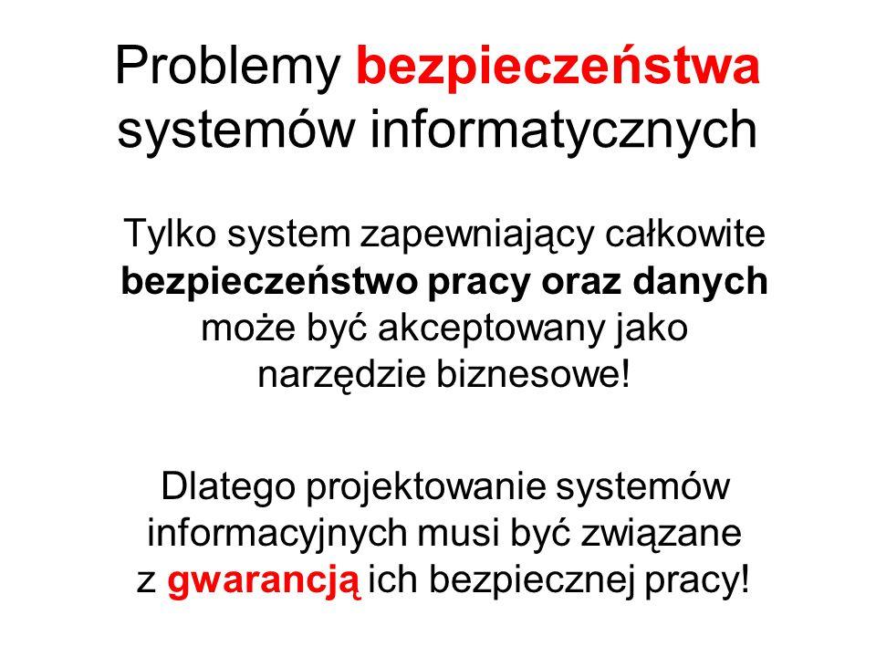 Problemy bezpieczeństwa systemów informatycznych Tylko system zapewniający całkowite bezpieczeństwo pracy oraz danych może być akceptowany jako narzędzie biznesowe.
