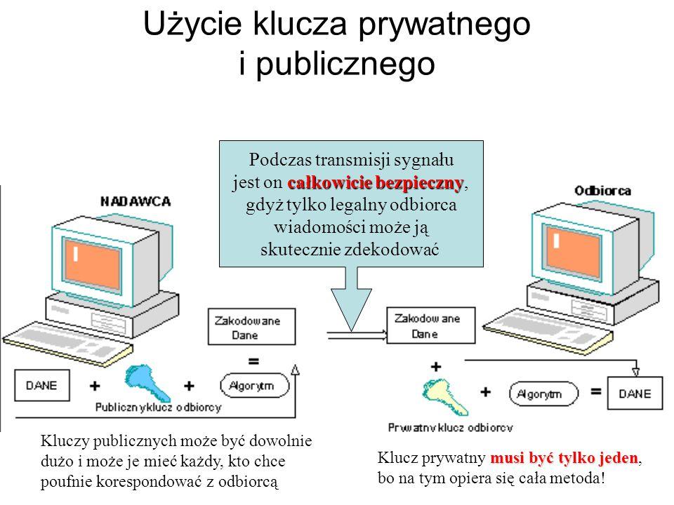 Asymetryczne algorytmy kryptograficzne – w trakcie szyfrowania i deszyfrowania wykorzystywane są inne klucze (tzw. klucz publiczny i klucz prywatny)