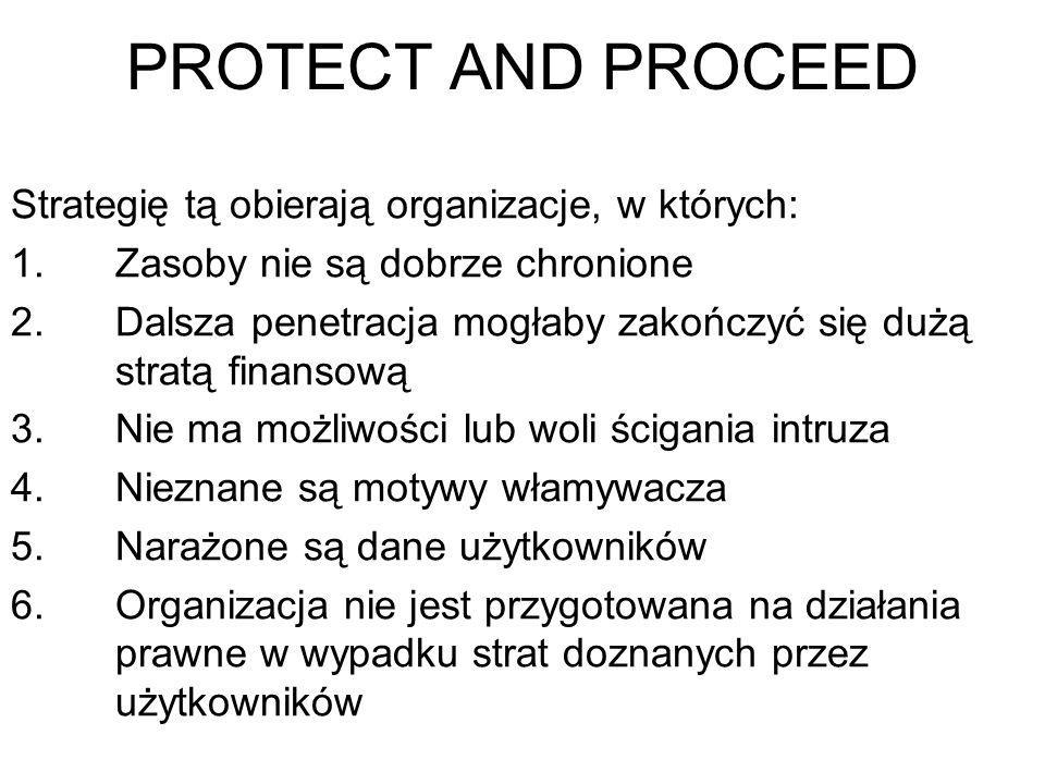 Postępowanie w razie wykrycia zagrożenia z zewnątrz 1. PROTECT AND PROCEED (chroń i kontynuuj) 2. PURSUE AND PROSECUTE (ścigaj i oskarż)