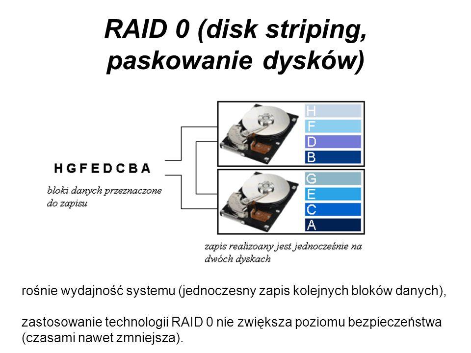 Dublowanie dysków Technologia RAID: Redundant Array of Independent/Inexpensive Disks Nadmiarowa macierz niezależnych/niedrogich dysków