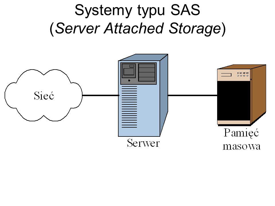 Zaawansowane systemy pamięci zewnętrznej Wymogi stawiane systemom pamięci zewnętrznej: duża pojemność, odporność na awarie, możliwość współdzielenia danych (urządzenia są współużytkowane przez wiele systemów komputerowych).