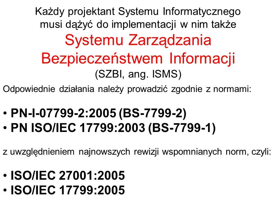 Każdy projektant Systemu Informatycznego musi dążyć do implementacji w nim także Systemu Zarządzania Bezpieczeństwem Informacji (SZBI, ang.