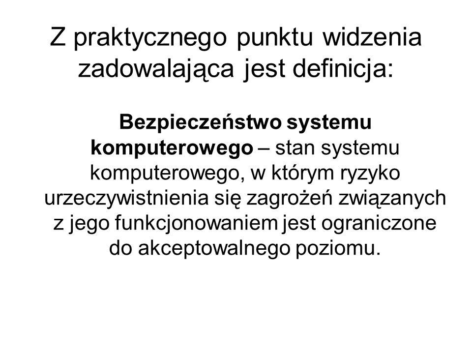 Bezpieczeństwo z informatycznego punktu widzenia to: Stan, w którym komputer jest bezpieczny, jego użytkownik może na nim polegać, a zainstalowane oprogramowanie działa zgodnie ze stawianymi mu oczekiwaniami [Garfinkel, Stafford 1997], Miara zaufania, że system i jego dane pozostaną nienaruszone [Adamczewski 2000].