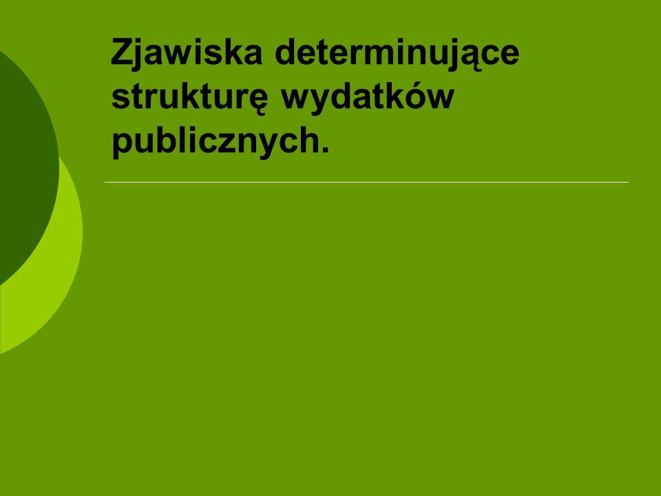 Zjawiska determinujące strukturę wydatków publicznych.