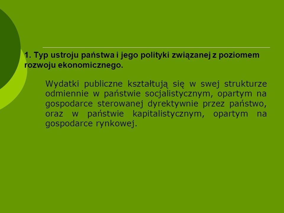 1. Typ ustroju państwa i jego polityki związanej z poziomem rozwoju ekonomicznego. Wydatki publiczne kształtują się w swej strukturze odmiennie w pańs