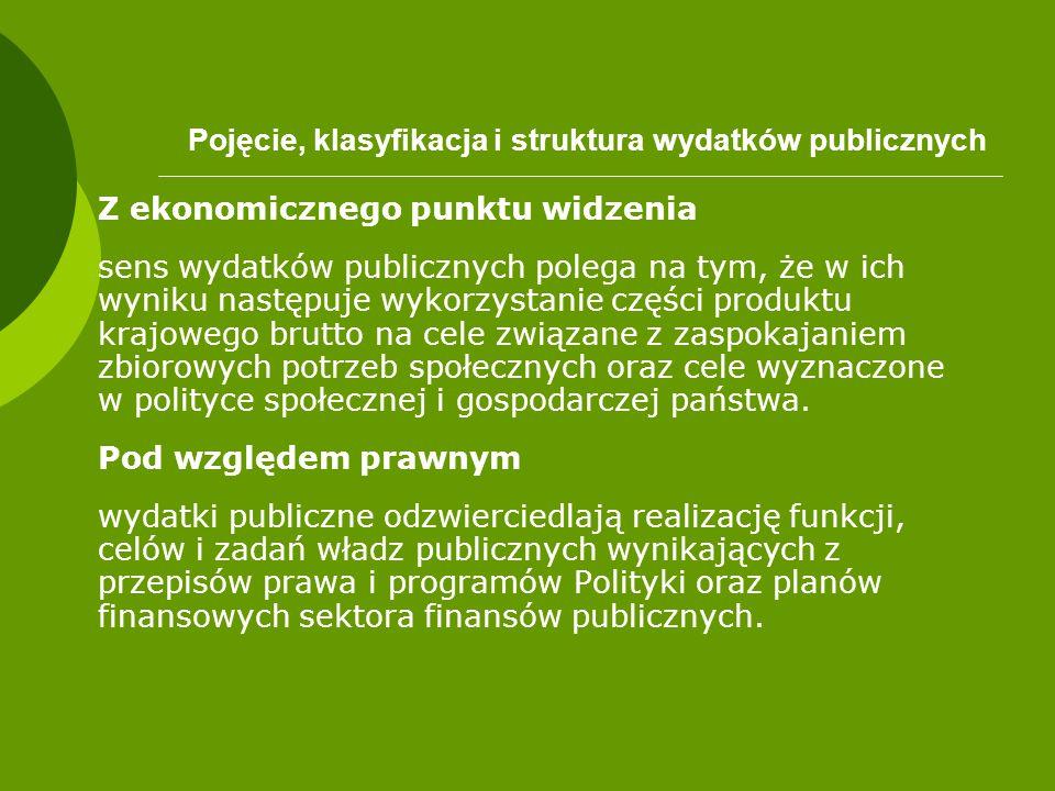 Pojęcie, klasyfikacja i struktura wydatków publicznych Z ekonomicznego punktu widzenia sens wydatków publicznych polega na tym, że w ich wyniku następ
