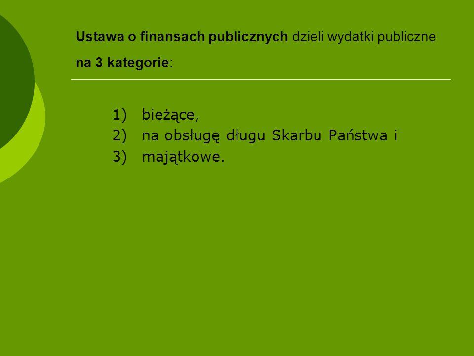 Ustawa o finansach publicznych dzieli wydatki publiczne na 3 kategorie: 1)bieżące, 2)na obsługę długu Skarbu Państwa i 3)majątkowe.