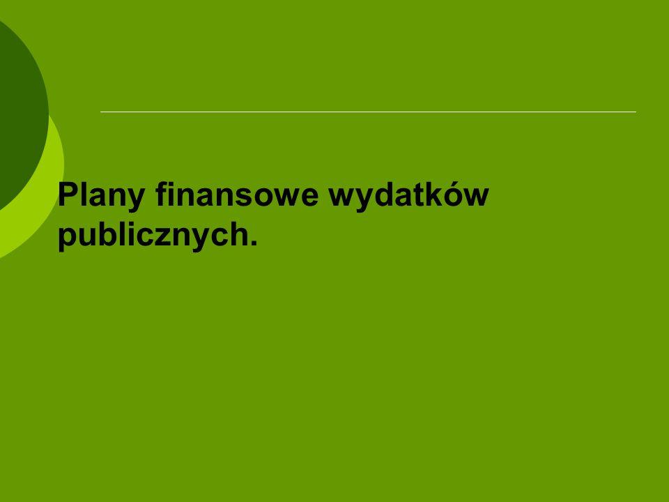 Plany finansowe wydatków publicznych.