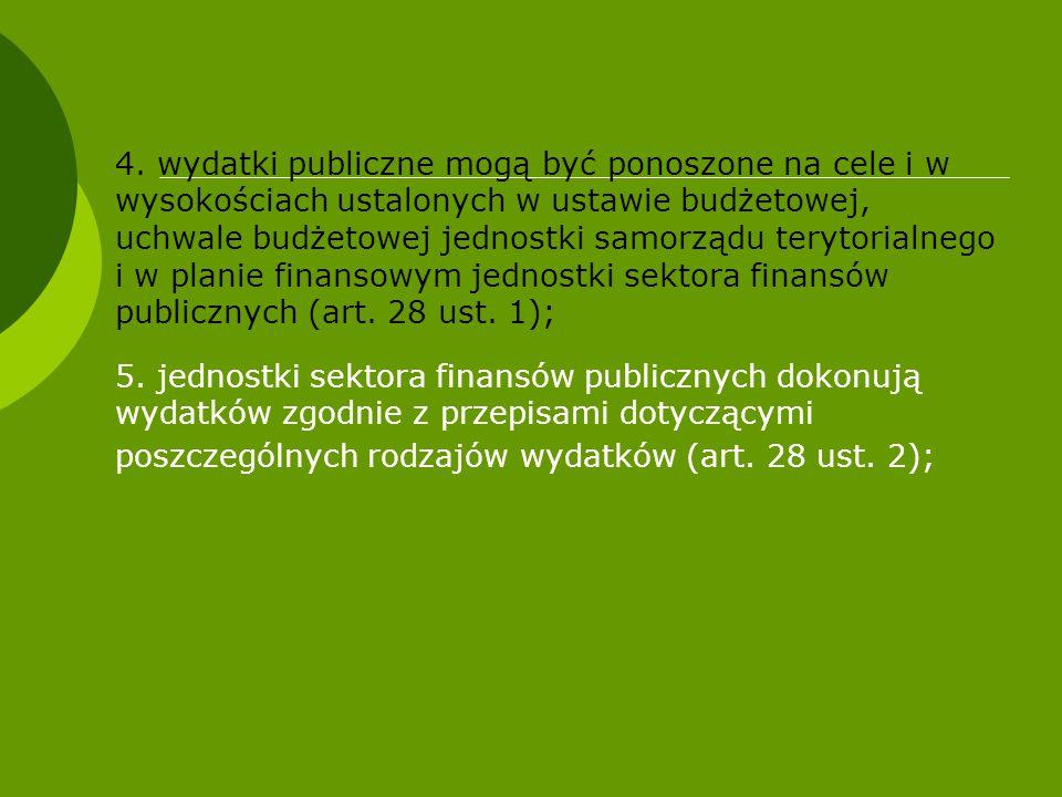 4. wydatki publiczne mogą być ponoszone na cele i w wysokościach ustalonych w ustawie budżetowej, uchwale budżetowej jednostki samorządu terytorialneg