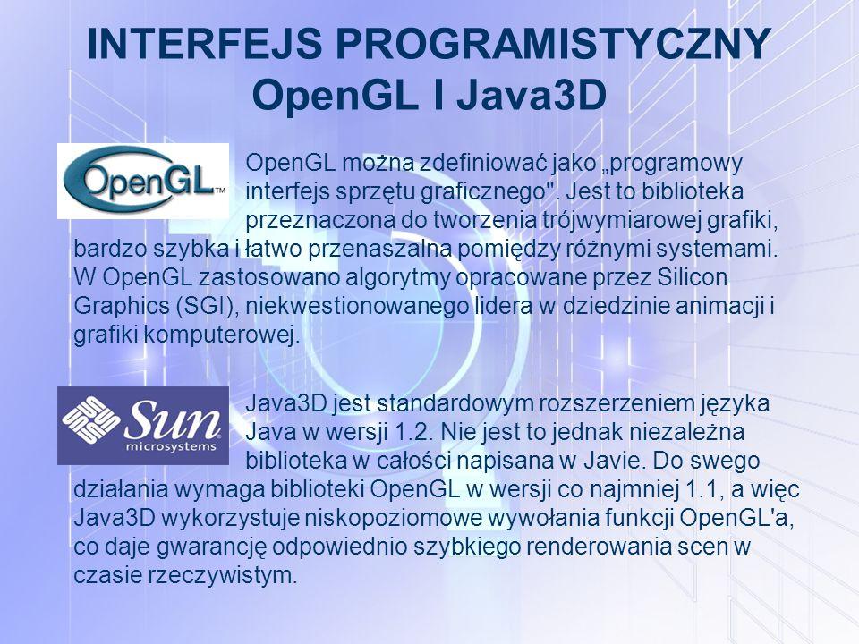 """INTERFEJS PROGRAMISTYCZNY OpenGL I Java3D OpenGL można zdefiniować jako """"programowy interfejs sprzętu graficznego ."""