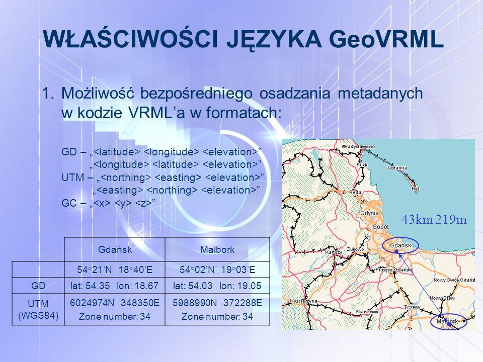 """WŁAŚCIWOŚCI JĘZYKA GeoVRML 1.Możliwość bezpośredniego osadzania metadanych w kodzie VRML'a w formatach: GD – """" """" UTM – """" """" GC – """" 43km 219m GdańskMalbork 54°21'N 18°40'E54°02'N 19°03'E GDlat: 54.35 lon: 18.67lat: 54.03 lon: 19.05 UTM (WGS84) 6024974N 348350E Zone number: 34 5988990N 372288E Zone number: 34"""