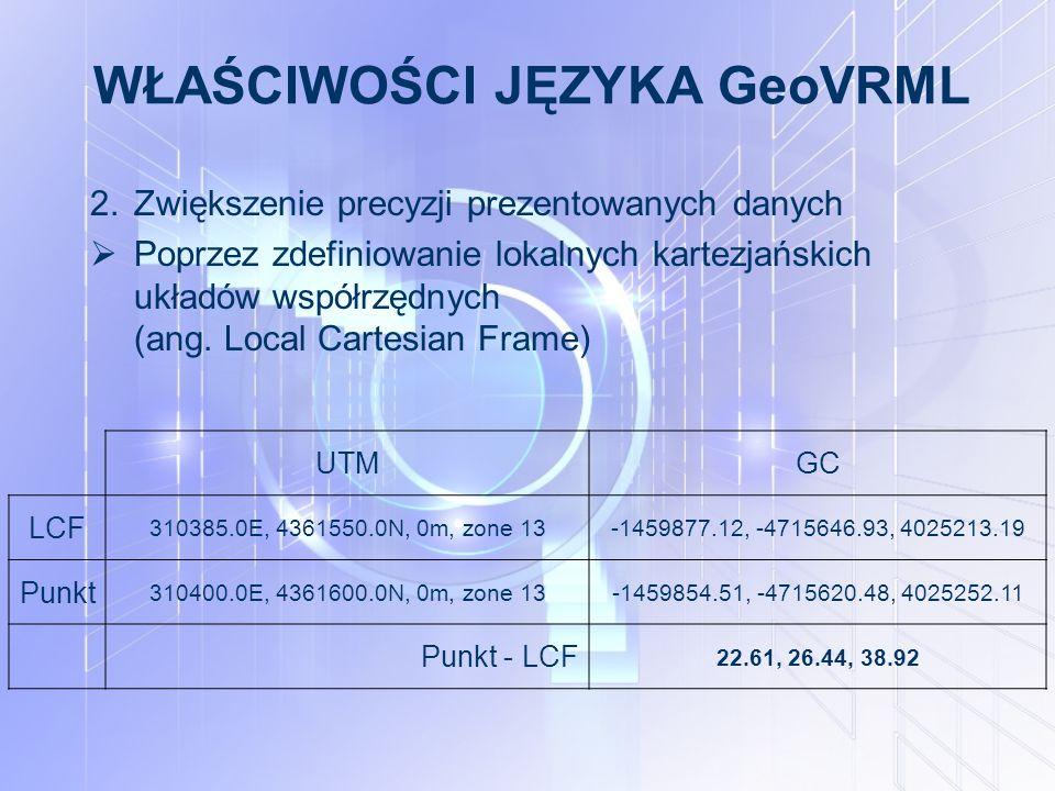 WŁAŚCIWOŚCI JĘZYKA GeoVRML 2.Zwiększenie precyzji prezentowanych danych  Poprzez zdefiniowanie lokalnych kartezjańskich układów współrzędnych (ang.