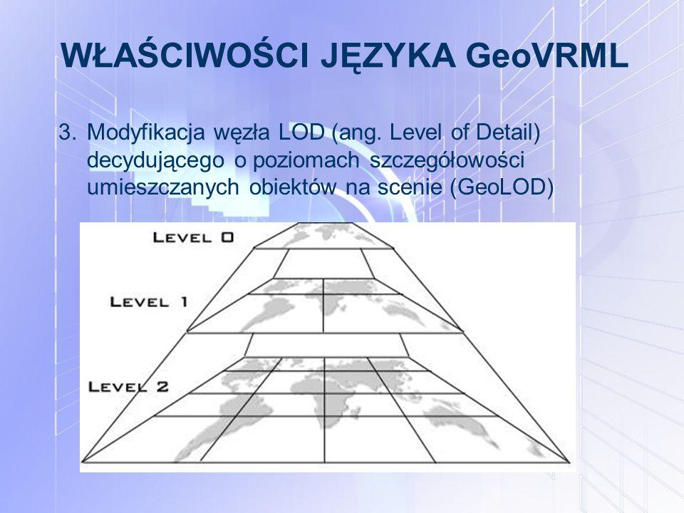 WŁAŚCIWOŚCI JĘZYKA GeoVRML 3.Modyfikacja węzła LOD (ang. Level of Detail) decydującego o poziomach szczegółowości umieszczanych obiektów na scenie (Ge