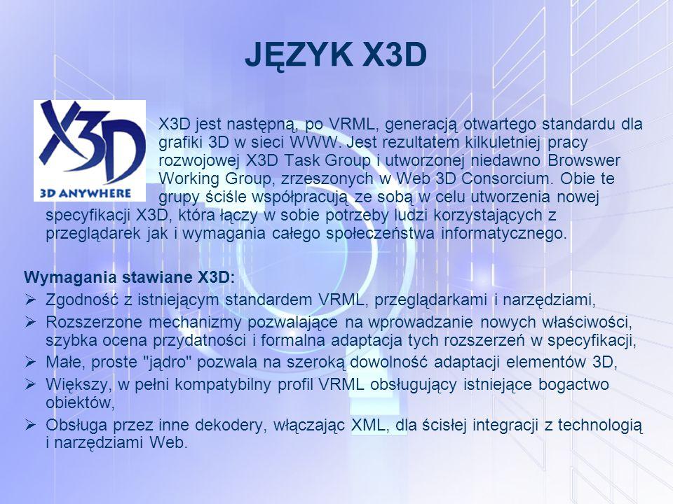 JĘZYK X3D X3D jest następną, po VRML, generacją otwartego standardu dla grafiki 3D w sieci WWW.