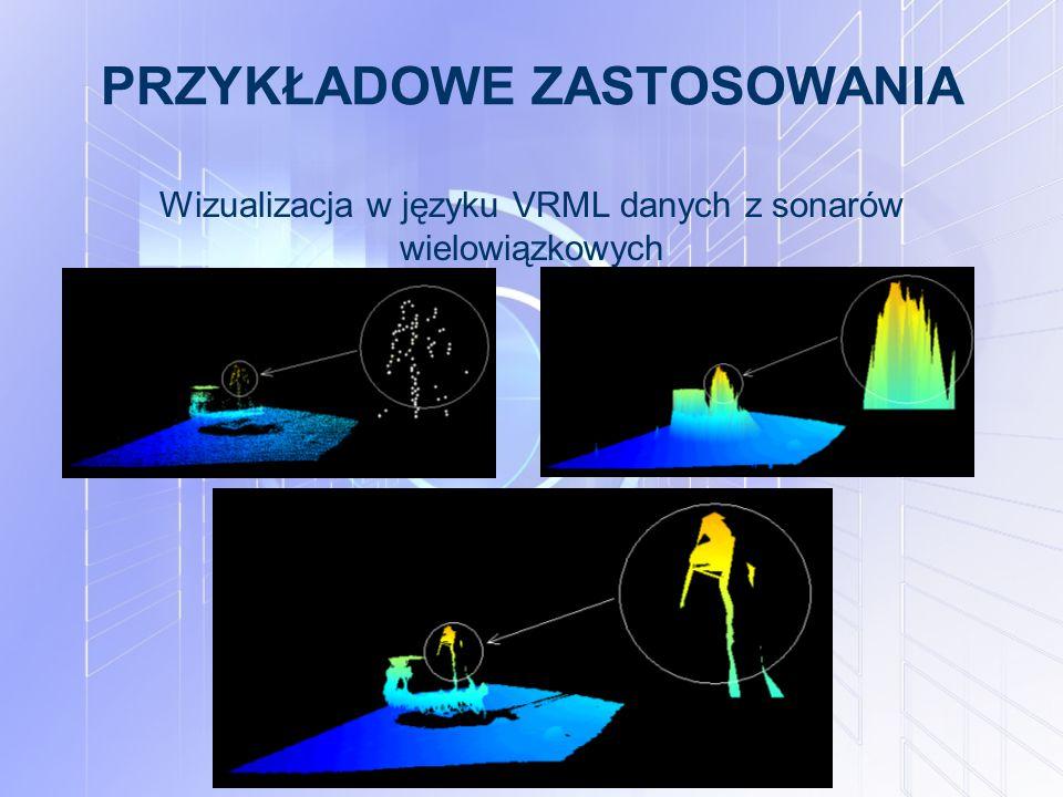 PRZYKŁADOWE ZASTOSOWANIA Wizualizacja w języku VRML danych z sonarów wielowiązkowych