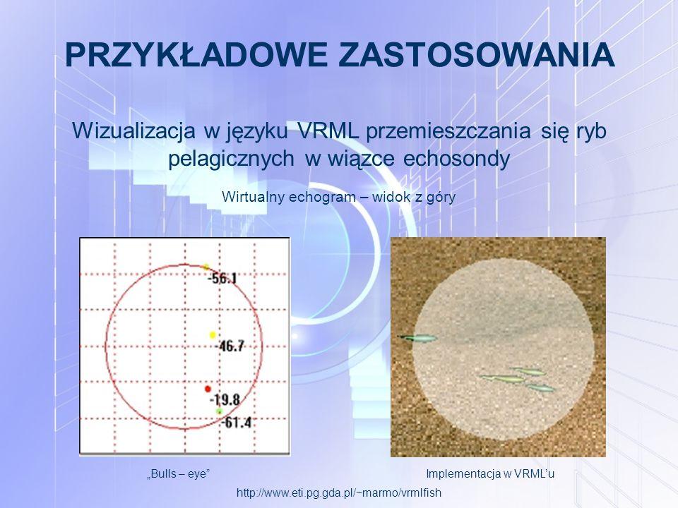 """PRZYKŁADOWE ZASTOSOWANIA Wizualizacja w języku VRML przemieszczania się ryb pelagicznych w wiązce echosondy """"Bulls – eye Implementacja w VRML'u Wirtualny echogram – widok z góry http://www.eti.pg.gda.pl/~marmo/vrmlfish"""