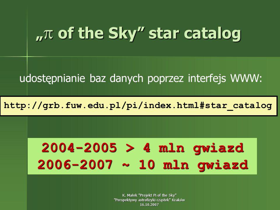 """""""  of the Sky star catalog udostępnianie baz danych poprzez interfejs WWW: http://grb.fuw.edu.pl/pi/index.html#star_catalog 2004-2005 > 4 mln gwiazd 2006-2007 ~ 10 mln gwiazd"""