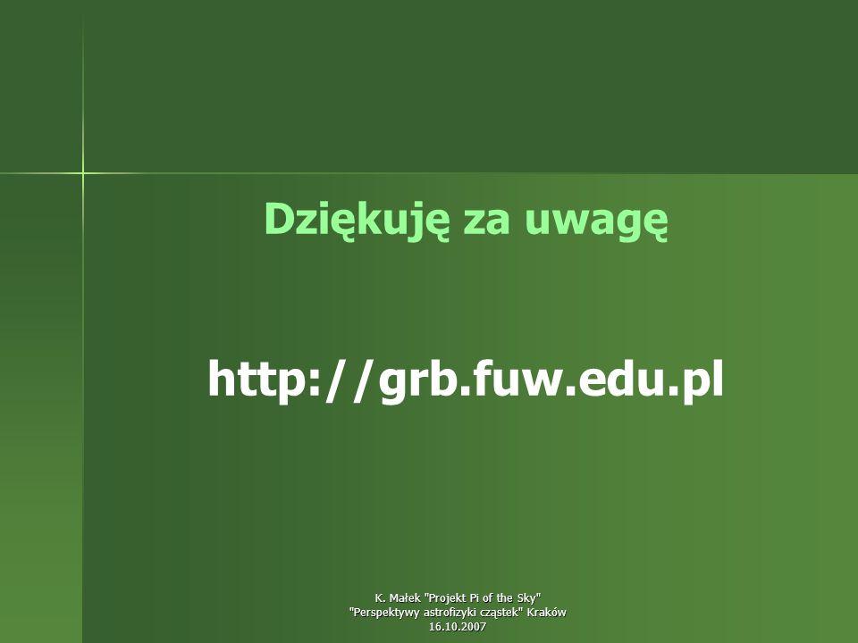 Dziękuję za uwagę http://grb.fuw.edu.pl