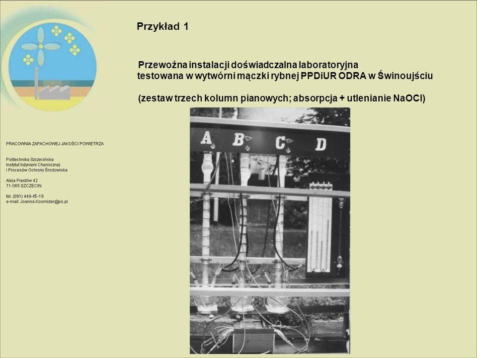 Przykład 1 Przewoźna instalacji doświadczalna laboratoryjna testowana w wytwórni mączki rybnej PPDiUR ODRA w Świnoujściu (zestaw trzech kolumn pianowy