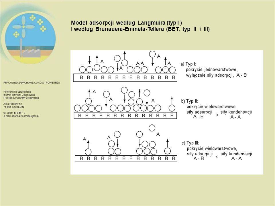 Model adsorpcji według Langmuira (typ I ) I według Brunauera-Emmeta-Tellera (BET, typ II i III)