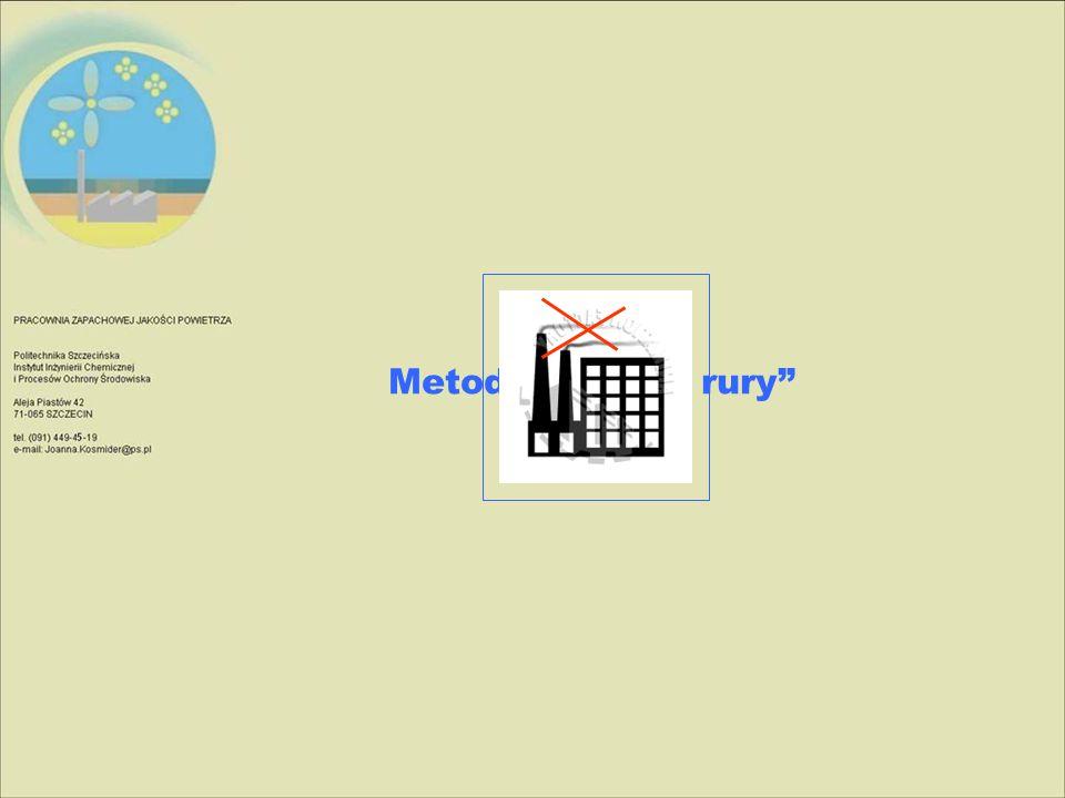 Schemat ideowy biofiltra z rusztem i komorą oraz wlotem gazów odlotowych od góry
