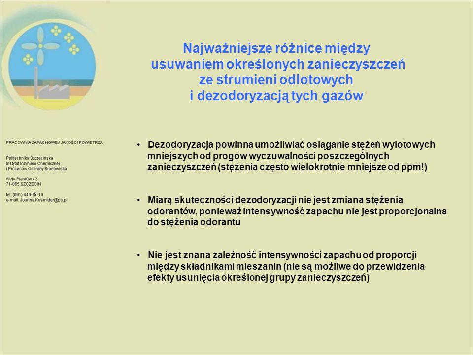 Najważniejsze różnice między usuwaniem określonych zanieczyszczeń ze strumieni odlotowych i dezodoryzacją tych gazów Dezodoryzacja powinna umożliwiać