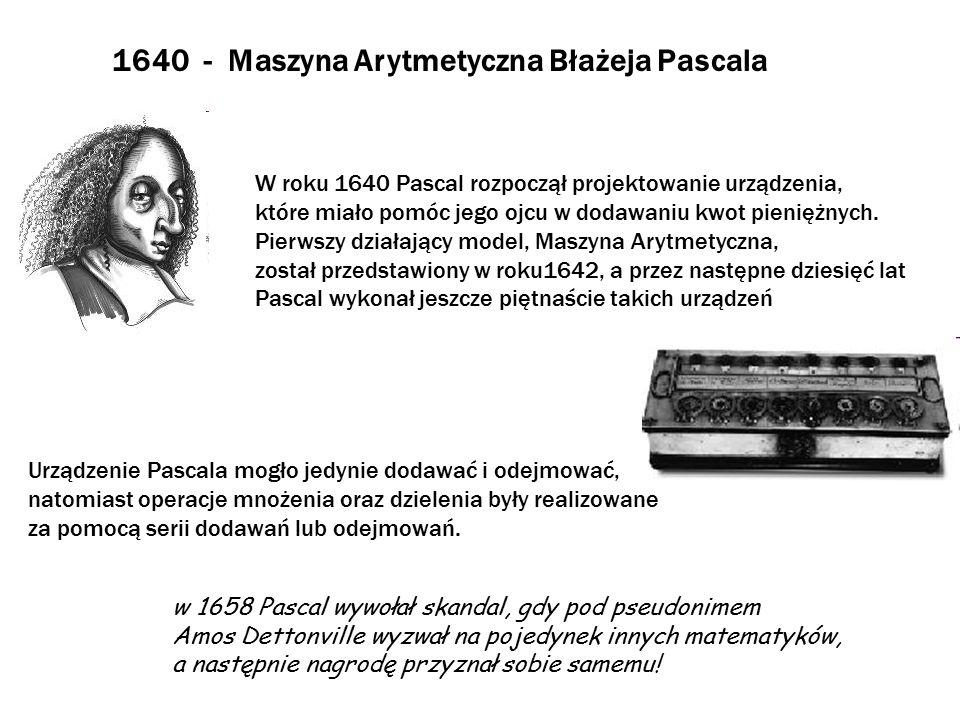 1670 - Rachmistrz Krokowy Gottfrieda von Leibniza Leibniz rozwinął pomysły Pascala i w roku 1671 przedstawił Rachmistrza Krokowego, urządzenie, które oprócz dodawania i odejmowania mogło mnożyć, dzielić oraz obliczać pierwiastki kwadratowe przy pomocy serii dodawań.