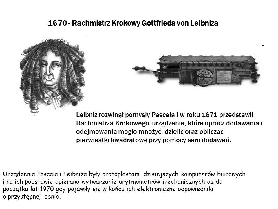 1800 - Perforowane Karty Jacquarda Na początku 1800 roku Joseph-Marie Jacquard wynalazł metodę automatycznego sterowania układem wątku i osnowy nici na krosnach jedwabnych, która polegała na zapisie wzorów dziurek na zestawie specjalnych kart z wybitymi otworami..